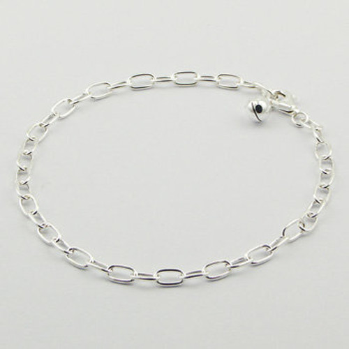 Handcrafted Bracelet Silver Charm Cable Link  210mm