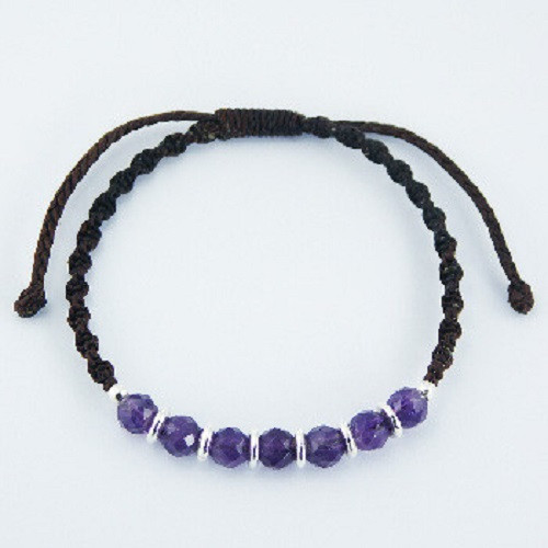 Handcrafted Bracelet Silver & Faceted Amethyst Beads
