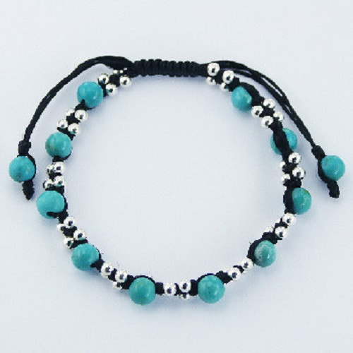 Handcrafted Bracelet Turquoise Gemstone & Silver Beads