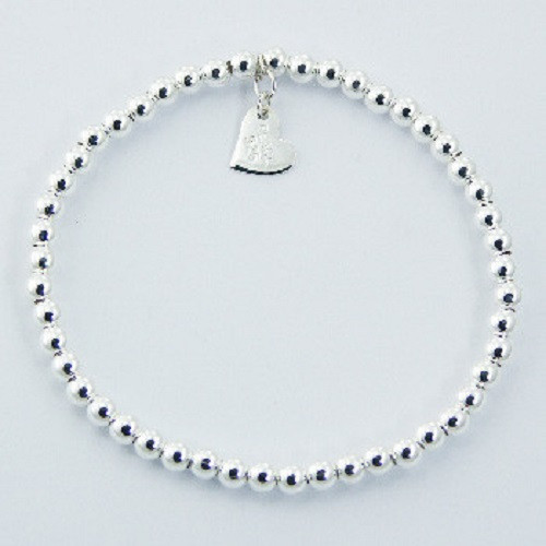Silver Stretch Bracelet Polished 4mm spheres with Silver Love Heart