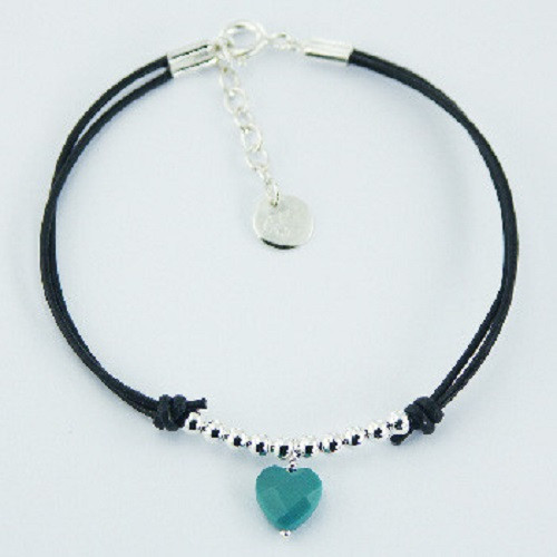 Handcrafted Bracelet black Leather Turquoise Heart 180 mm