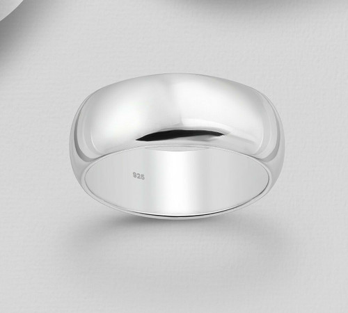 Band Ring Curved Edges Hallmarked 925 Sterling Silver -7mm wide-Size 11