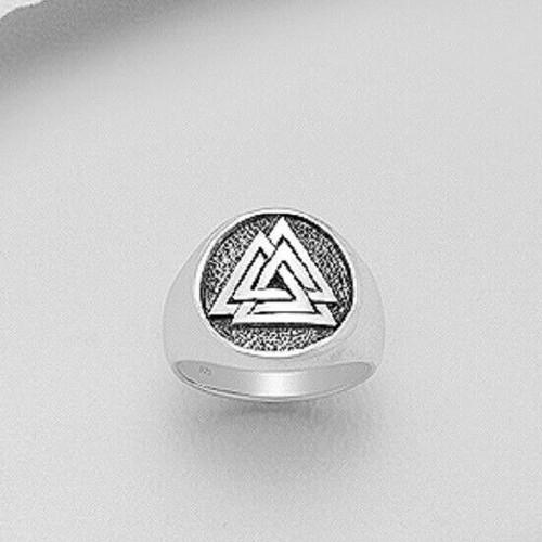 Men's Amulet Ring 925 Sterling Silver Viking Valknut Magic Symbol Size 10us