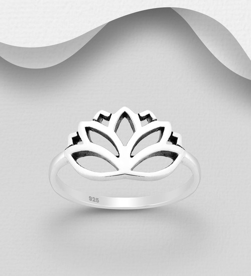 Lotus Flower Band Ring 925 Sterling Silver Size 8us