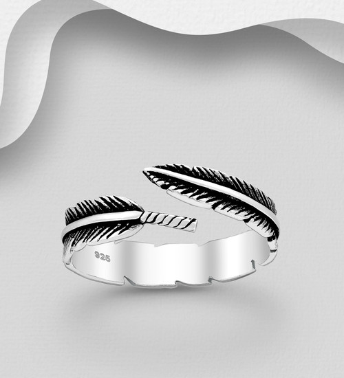 Tribal Feather- 925 Sterling Silver- Oxidised silver