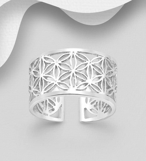Flower Of Life Cuff Ring Sacred Geometric Form