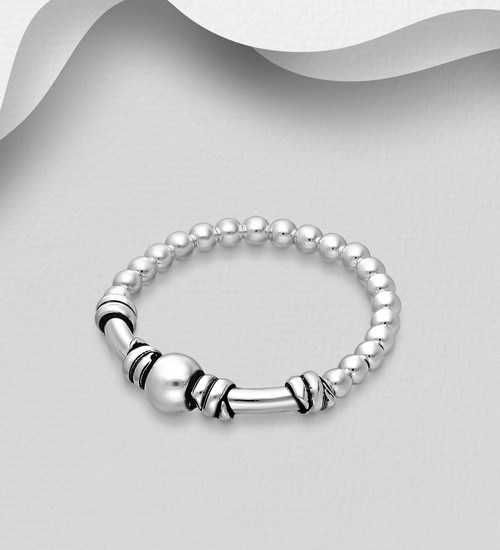 Balinese Beaded Adjustable Stretch ring 925 sterling silver