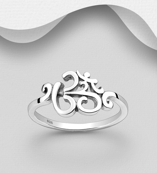 Om Band Ring -925 Sterling Silver -Size 8us