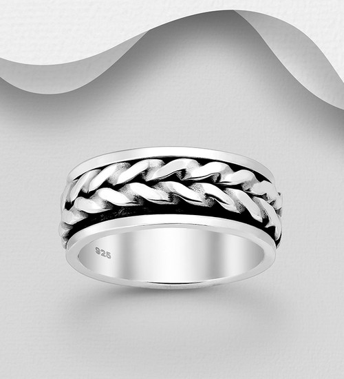 Spin Ring 925 Sterling Silver 8mm wide Size 10.5us