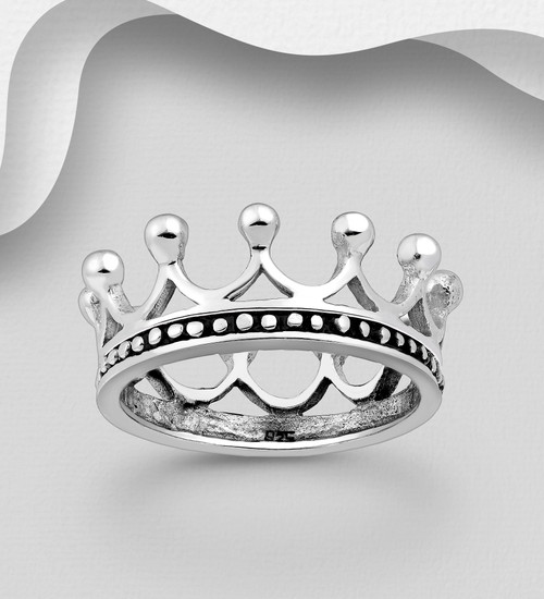 Crown Ring 925 Sterling Silver Size 9us