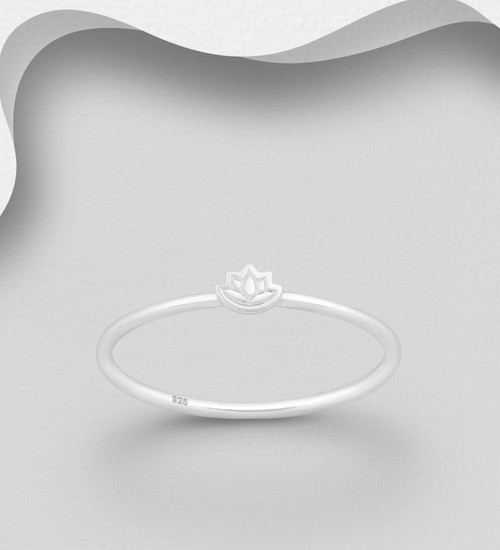 Lotus Flower Band Ring - 925 Sterling Silver