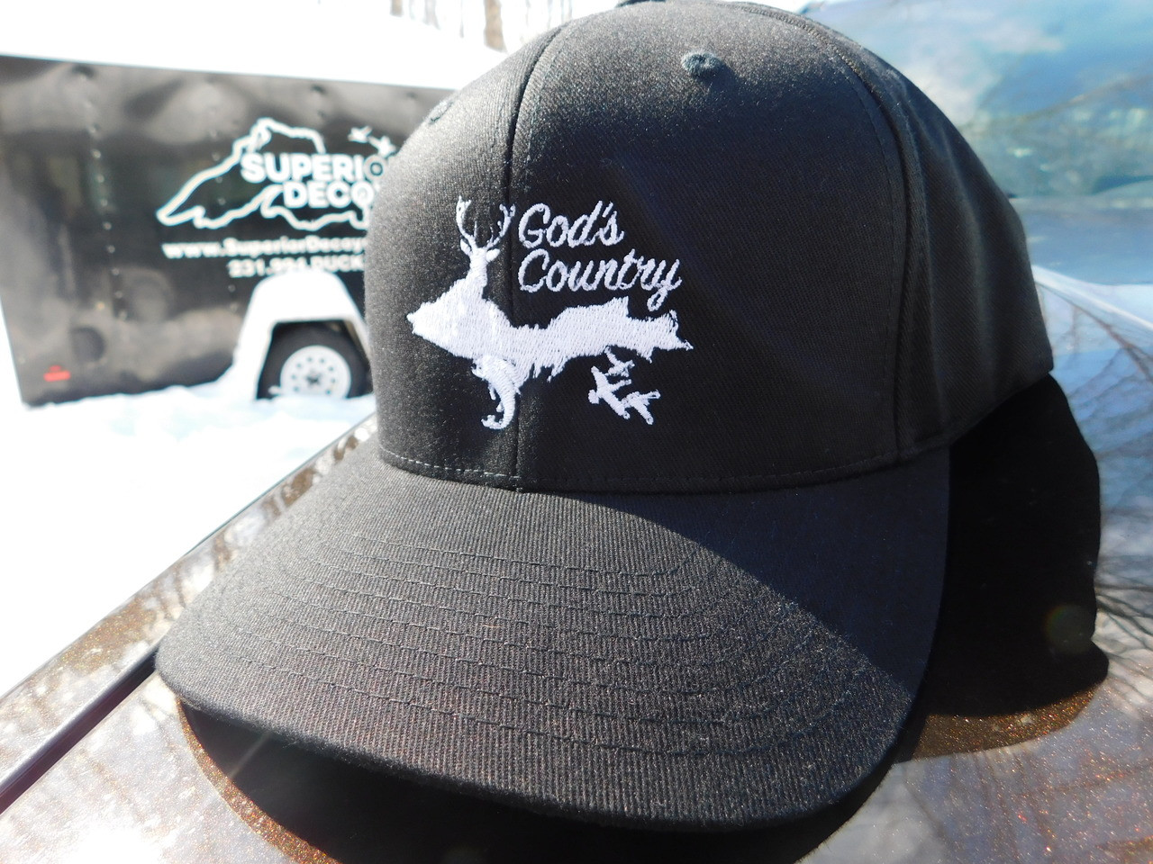 9df6aa39ed3df God s Country Upper Peninsula Black Flexfit Hat - Superior Decoys