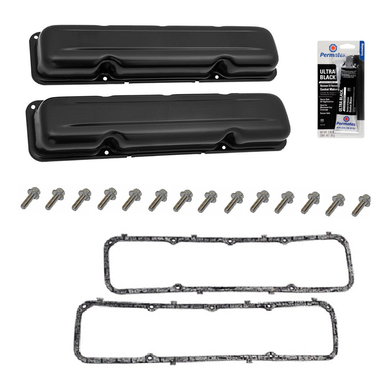 STOCK LOOKING BLACK VALVE COVER SET W/GASKETS & HARDWARE