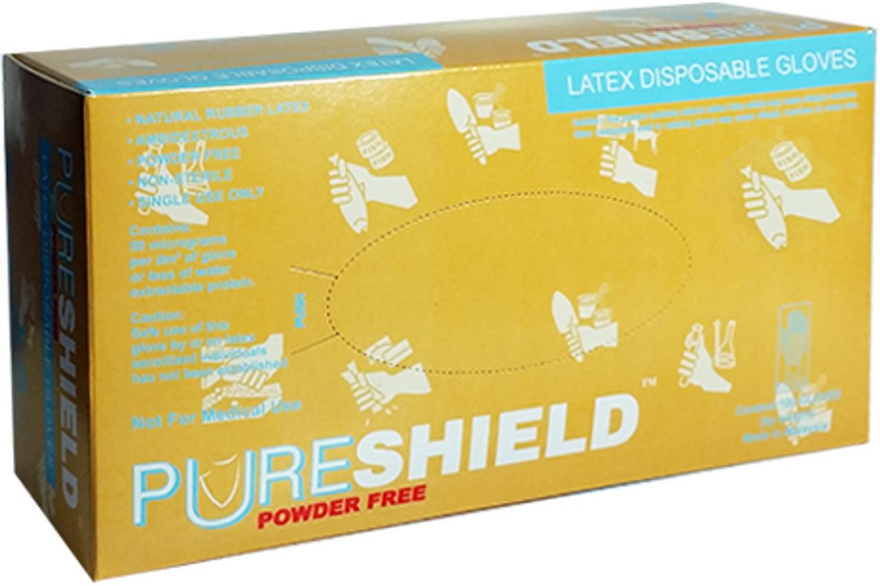 SHIELD POWDER FREE LATEX GLOVES S PK100