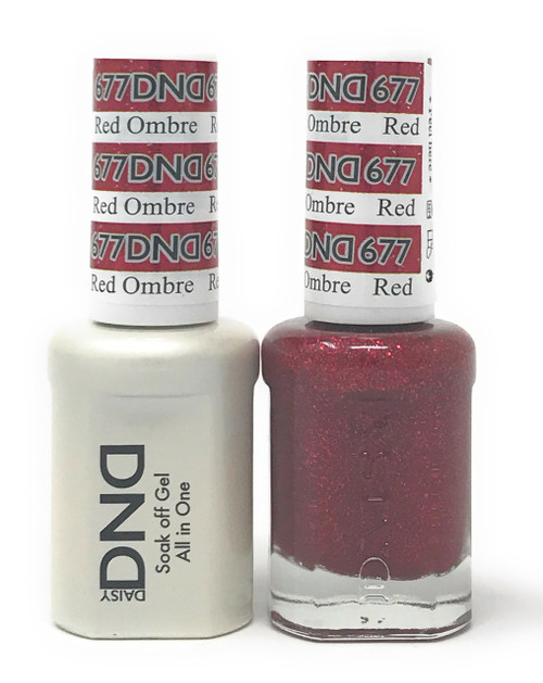 DND SOAK OFF GEL POLISH DUO DIVA COLLECTION | RED OMBRE, 677 |