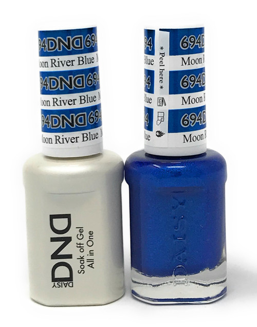 DND SOAK OFF GEL POLISH DUO DIVA COLLECTION | MOON RIVER BLUE, 694 |
