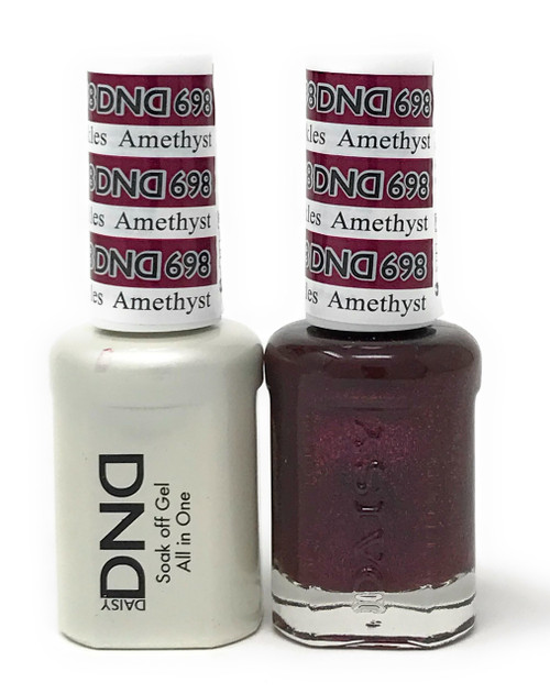 DND SOAK OFF GEL POLISH DUO DIVA COLLECTION | AMETHYST SPARKLES, 698 |
