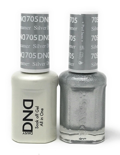 DND SOAK OFF GEL POLISH DUO DIVA COLLECTION | SILVER DREAMER, 705 |