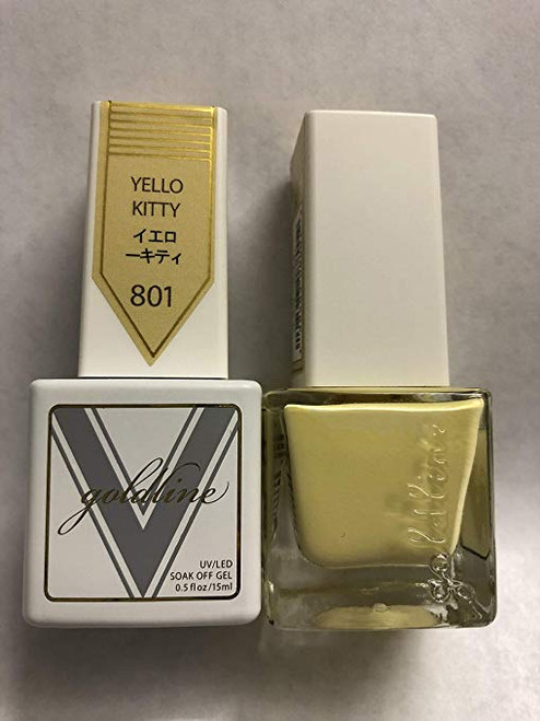 Gel Matching SOAK Off Gel & Nail Lacquer Yello Kitty #801 by VETRO