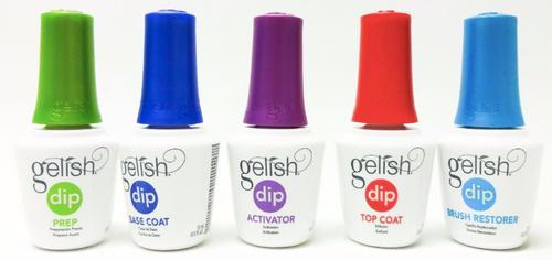 Gelish Dipping Liquid (Set of 5: Prep, Base, Activator, Top, Brush Restorer)