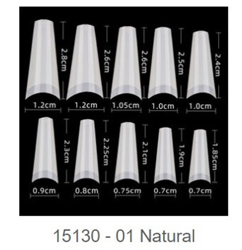 Natural  Tip | Square Shape Tip size  0-9 | Pack of 10