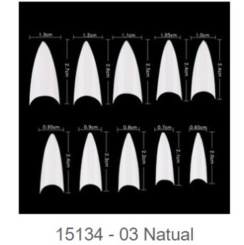 Natural Tip | Almond Shape Tip size  0-9 | Pack of 10 | 1134