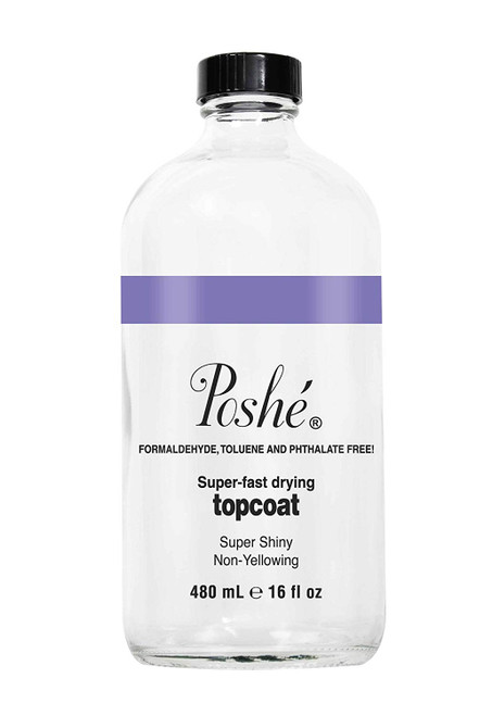 Poshe Super Fast Drying Shine and Gloss Top Coat | For Regular Polish | Refill Size 16 fl oz