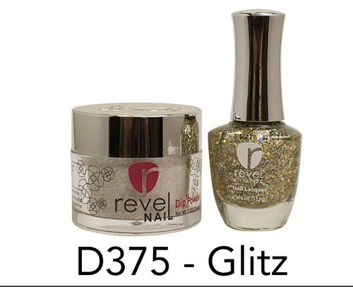 Revel Mates Matching Dip Powder 2 oz & Polish 0.5oz | D375 Glitz