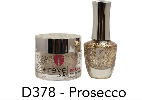 Revel Mates Matching Dip Powder 2 oz & Polish 0.5oz   D378 Prosecco