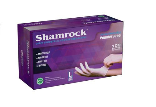 SHAMROCK Gloves | Latex Industrial Powder Free Gloves (100 Gloves/Box) | Large (3 boxes)