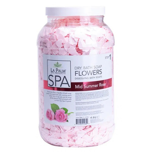 La Palm Dry Bath Soap Flowers | Mid Summer Rose (1 Gallon)