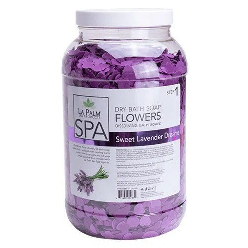 La Palm Dry Bath Soap Flowers | Sweet Lavender Dreams (1 Gallon)