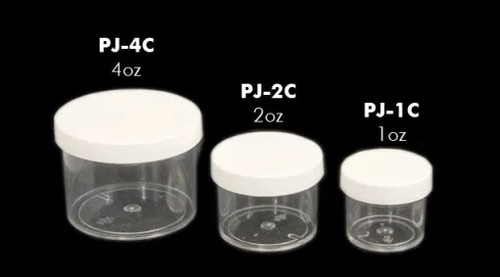 Clear Plastic Jars with White Plastic Lids | 4-oz