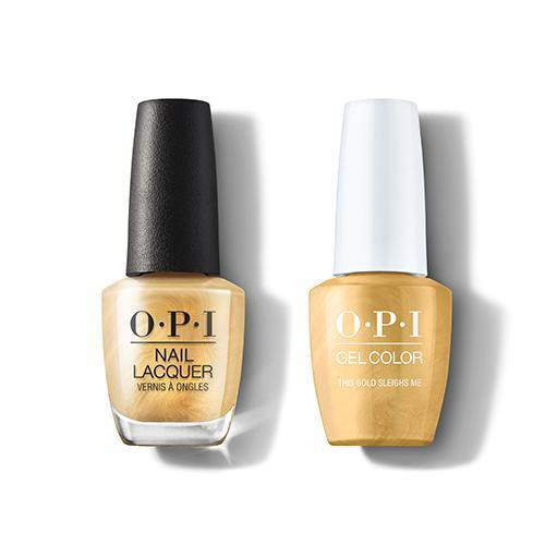 OPI GelColor & Lacquer Combo | This Gold Sleighs Me (HRM05)