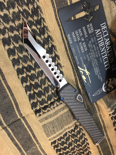 Microtech Custom/Marfione HALO 6 VI CF/Blue Accents Hellhound Mirror Polish