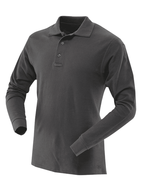Tru-Spec Men's Long Sleeve Classic 100% Cotton Polo - Black