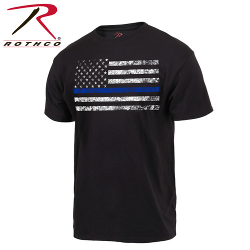 Show your support for law enforcement with this Thin Blue Line American Flag T-Shirt from Rothco