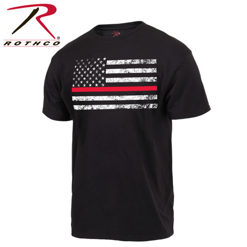 Show your support for fire rescue personnel with this Thin Red Line American Flag T-Shirt from Rothco