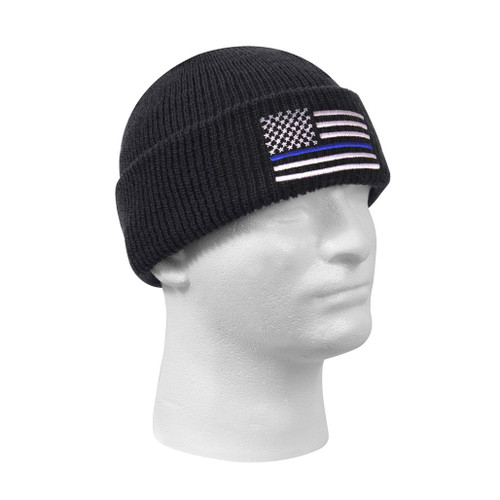 Thin Blue Line American Flag Watch Cap from Rothco available at East Coast Emergency Outfitter