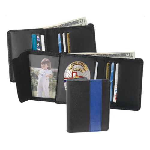 Strong Leather Company Blue Line Strong Hidden Badge Wallet