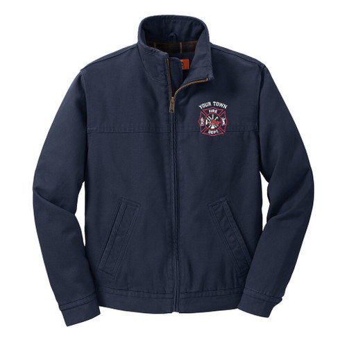 Cornerstone® Washed Duck Cloth Flannel-Lined Work Jacket with custom fire department emboidery (CSJ40)