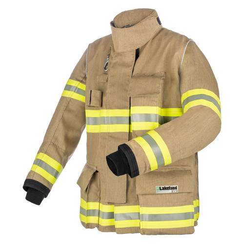 Lakeland Fire Bunker Gear - B2 Pleated Turnout Coat, rotated front view