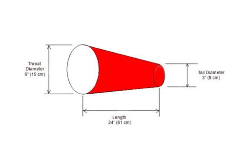 """6"""" Diameter x 24"""" Long Windsock Diagram"""