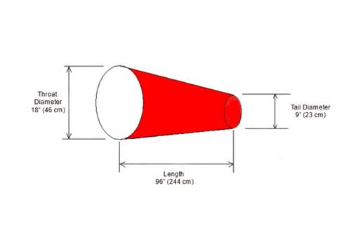 """18"""" Diameter x 96"""" Long Windsock Diagram"""