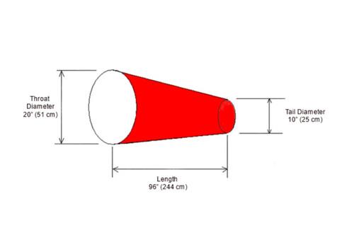 "Diagram of 20"" Diameter x 96"" Long Vinyl Windsock"
