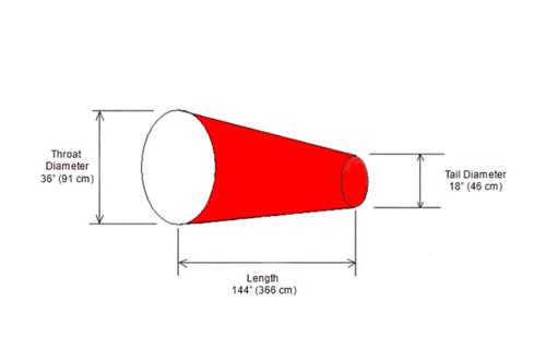 """Diagram of 36"""" Diameter  x 144"""" Long Windsock"""