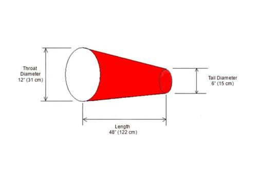 """12"""" diameter x 48"""" long Windsock Diagram"""