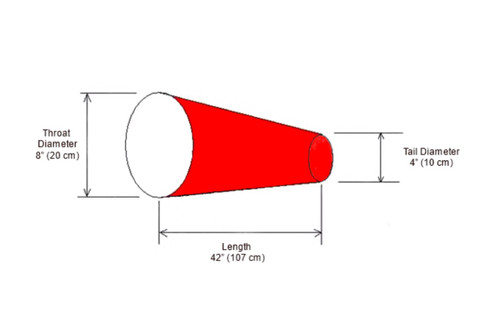 "8"" diameter x 42"" long windsock diagram"