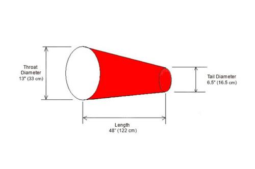 "Diagram of 13"" diameter x 48"" long nylon windsock"