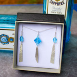 Sapphire Blue Pendant and Earrings Set
